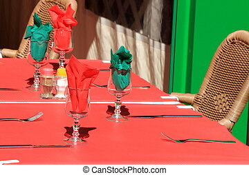 Colorful outdoor restaurant table