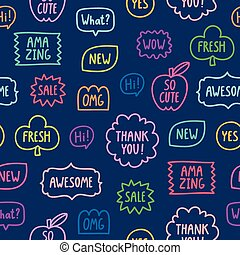 Colorful outline phrases seamless pattern on blue background
