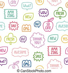 Colorful outline phrases seamless pattern on white...