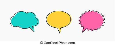 Colorful outline speech bubbles set. Vector illustration.