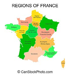 Colorful outlines map of France with names on white background