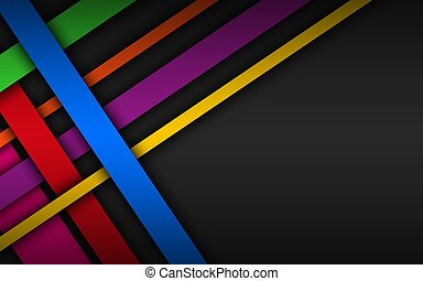 Colorful overlapped stripes, geometric material background, dark abstract corporate design with place for your text, modern vector illustration
