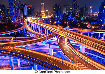 colorful overpass at night