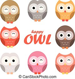 Colorful owl cartoon set, vector illustration