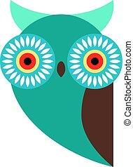 Colorful owl flat illustration on white