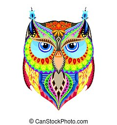 Colorful owl silhouette