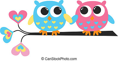 colorful owls - two colorful owls
