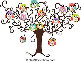 Colorful owls in pretty tree - Scalable vectorial image ...