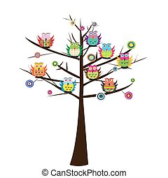 Colorful owls sitting on the tree