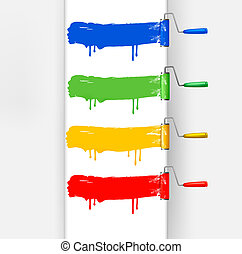 Colorful paint brushes leaving a horizontal trail. Vector...