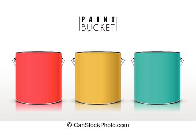 colorful paint buckets