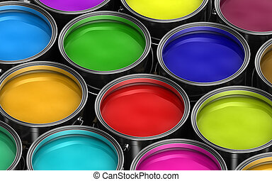 Colorful paint buckets - Paint buckets with various colored...