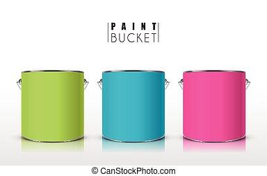 colorful paint buckets set