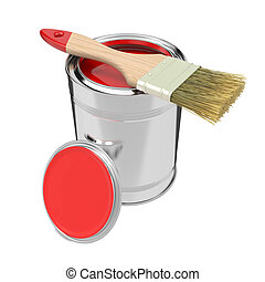 Colorful Paint Can with Paintbrush. - Paint Can with Red...