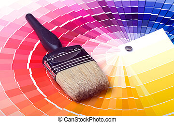 Colorful Paint Color Swatches - A paint brush over a wheel...
