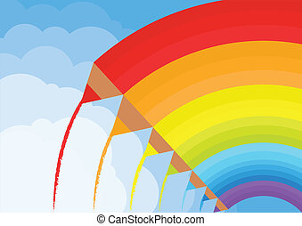 Colorful paint pencils vector background rainbow concept in...