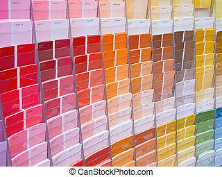 Colorful paint samples in the shop
