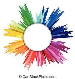 Colorful paint splashes circle isolated on white background.