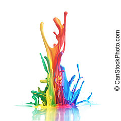 Colorful paint splashing