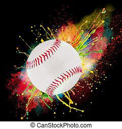 Colorful paint splashing with baseball isolated on black