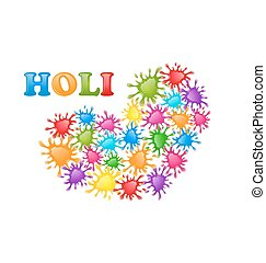 Colorful Paint Splatter in Form Heart for Indian Festival Holi C