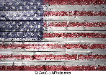 painted american flag on a wooden texture