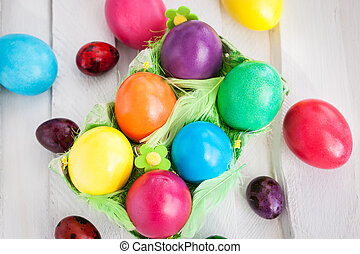 Colorful painted Easter eggs