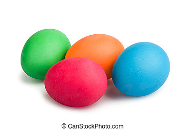 Colorful painted Easter eggs isolated on white background