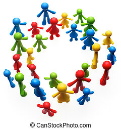 Colorful painted group of people figures on white background