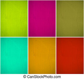 Colorful painted wall background set with clipping path