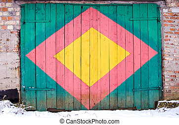 colorful painted wooden door background