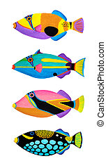 Collection of trigger fishes - Colorful painting Collection...