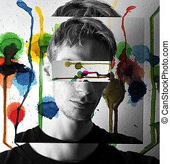 Colorful painting concept image of male model - A colorful...