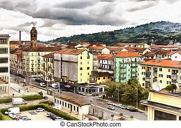Colorful painting of cityscape from Fiat Lingotto, Turin,...