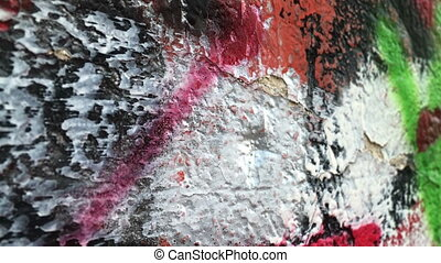 Colorful paintings on the wall dolly shot