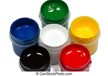 Colorful paints, isolated on white background, with clipping path