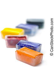 colorful paints isolated