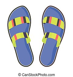 Colorful Pair of Flip-Flops Isolated Illustration