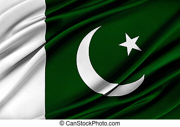 Colorful Pakistan flag waving in the wind. 3D illustration.