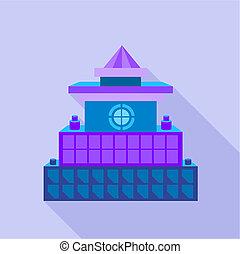 Colorful palace icon, flat style