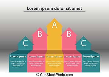 Colorful paper arrow infographic style for website presentation cover poster vector design illustration concept