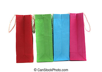 Colorful paper bag isolated in white background