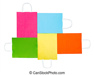 Colorful paper bags isolated on white background. Sale concept