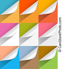 Colorful Paper Bent Corners Illustration Set