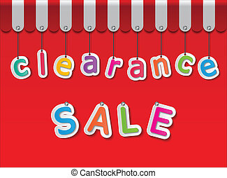 colorful paper clearance sale tags on red background and awning