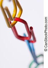 Colorful paper clips chain