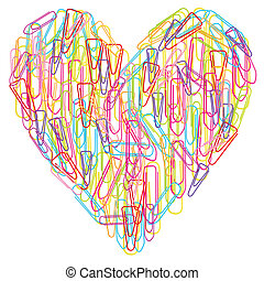 Colorful paper clips heart abstract vector isolated