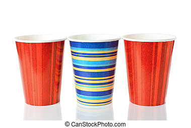 Colorful paper cups isolated on white background