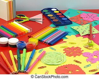 Colorful paper-cut - Children's colorful paper-cut and sweet...