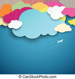 Colorful paper cut clouds shape design on blue background,...